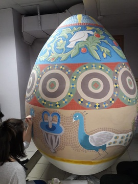 ASU students painted giant Easter eggs using Byzantine and